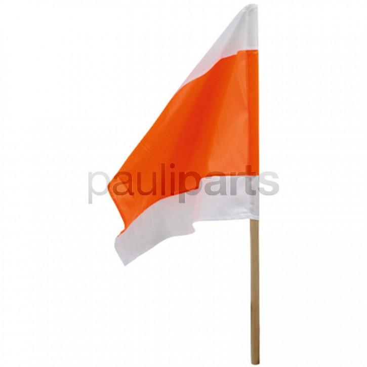 Warnflagge, 500 x 500 mm, Stiellänge 800 mm, weiß - orange - weiß, reißfest