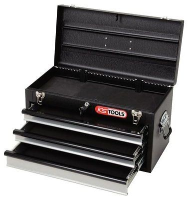 KS-TOOLS 801.0003 Werkzeugtruhe, Werkzeugkiste mit 3 Schubladen schwarz
