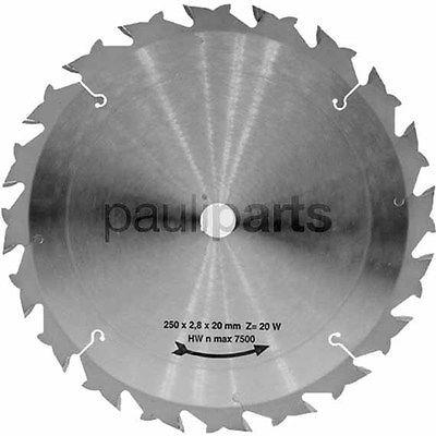 Hartmetall Kreissägeblatt, Zähne: 20, Stärke 1,8 mm, Zentralbohrung 25,4 mm