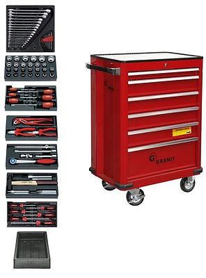 Granit Profi Werkstattwagen, mit Vollauszug, 80 tlg., mit Einlagen, 6 Schubladen