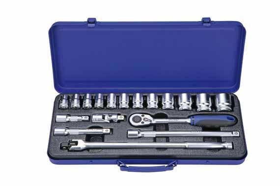 """BOXO 1/2"""" Steckschlüssel Satz, Knarrensatz, Knarre 10 - 32 mm, 18 Tlg."""